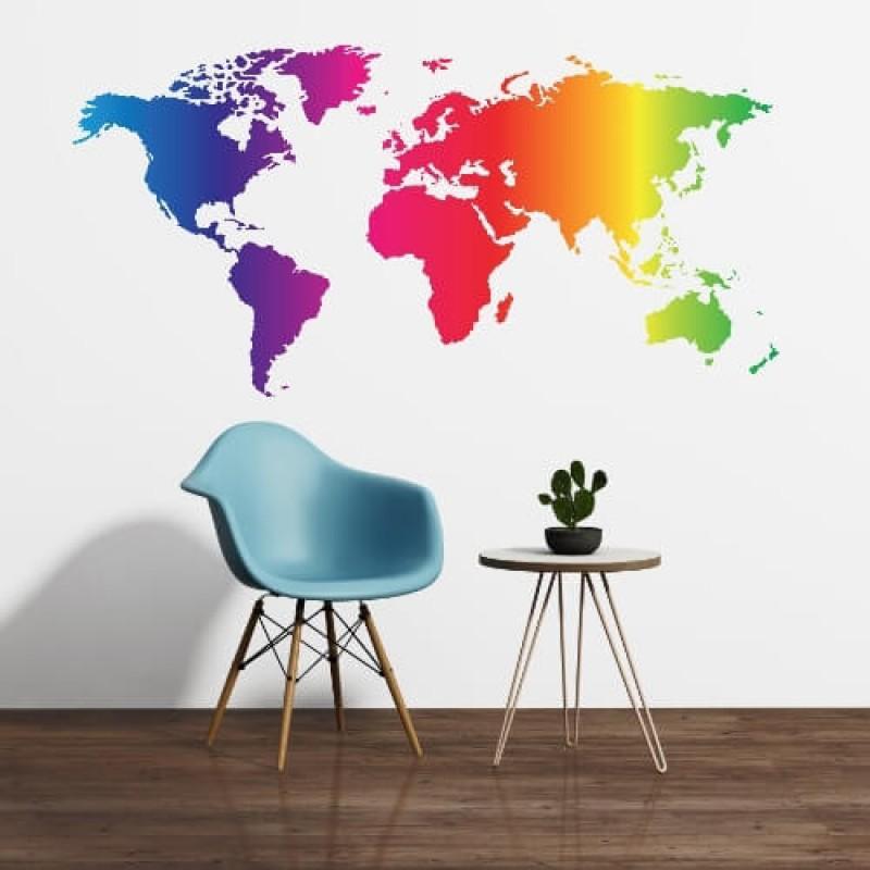 Pift stuen op med et levende verdenskort som wallsticker